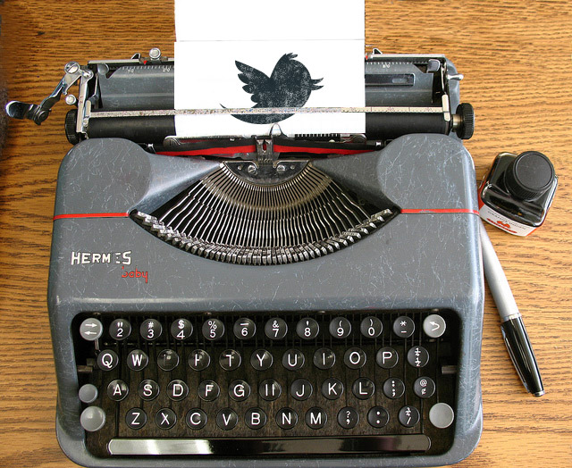 Typewriter with Twitter Bird