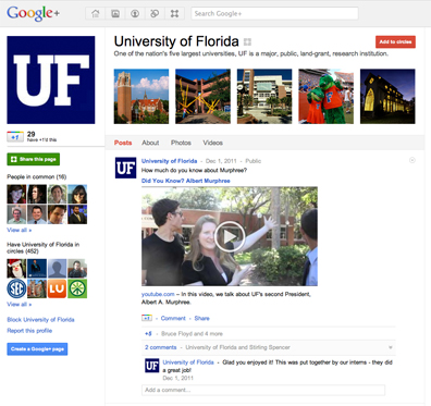Google+ page for the University of Florida